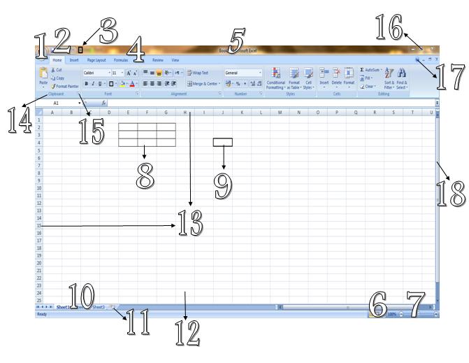 Bagian-Bagian Jendela MS Excel 2007